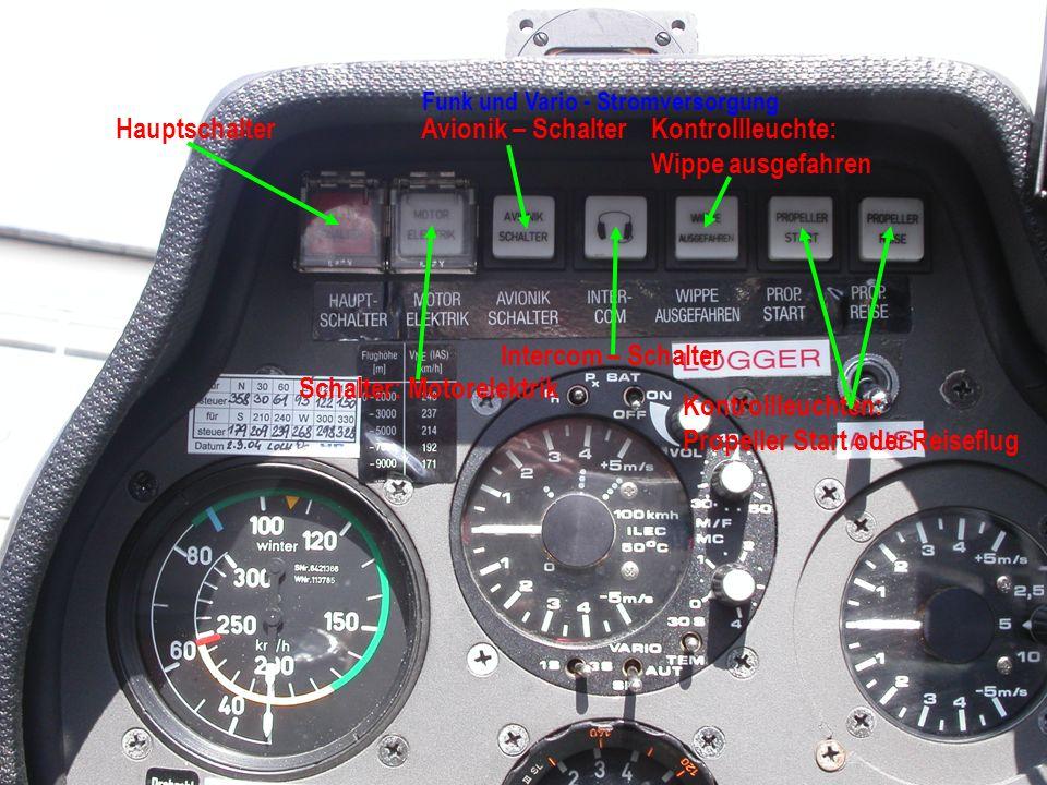 Schalter: Motorelektrik Kontrollleuchten:
