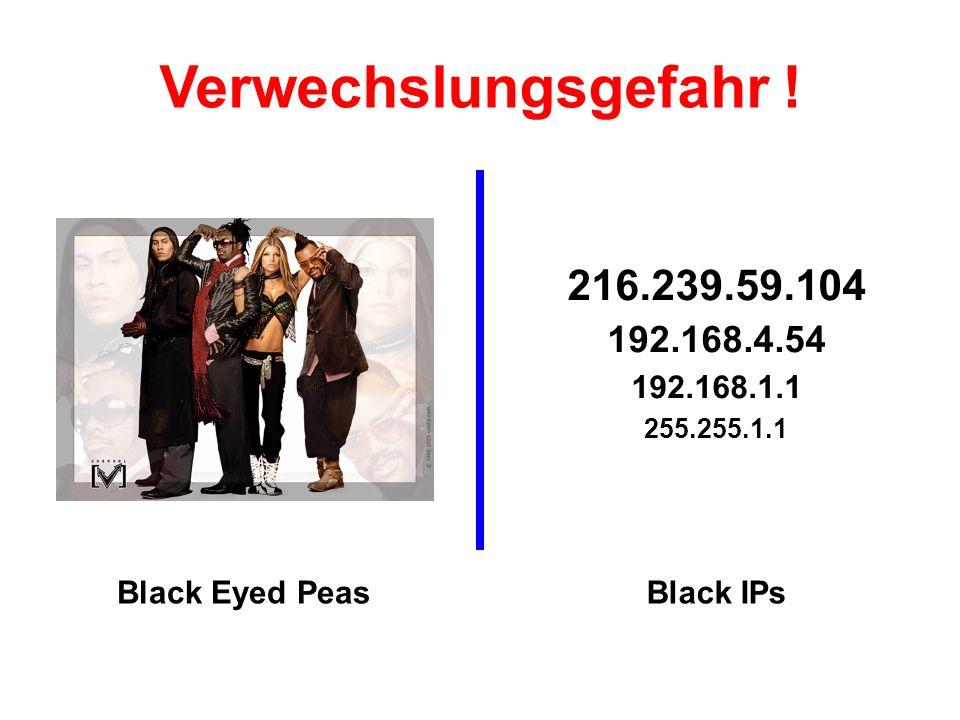 Verwechslungsgefahr ! 216.239.59.104 192.168.4.54 192.168.1.1 255.255.1.1 Black Eyed Peas Black IPs