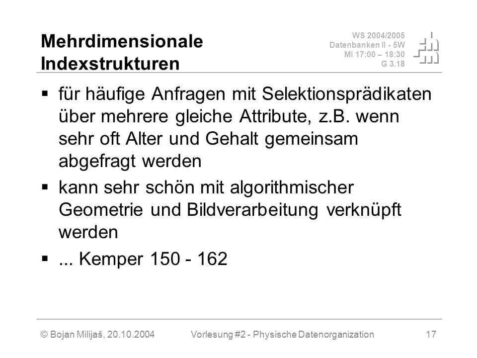 Mehrdimensionale Indexstrukturen