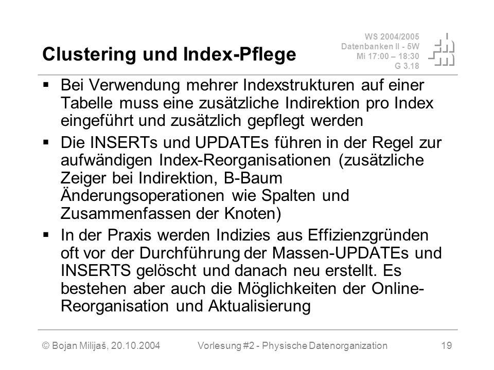Clustering und Index-Pflege