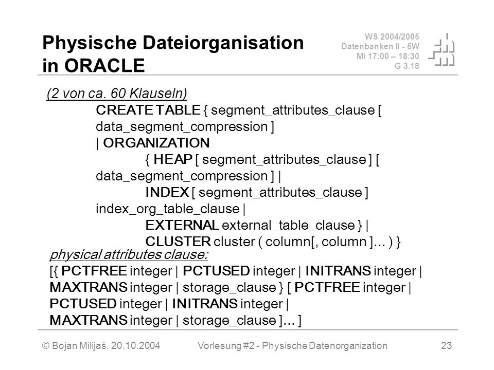 Physische Dateiorganisation in ORACLE