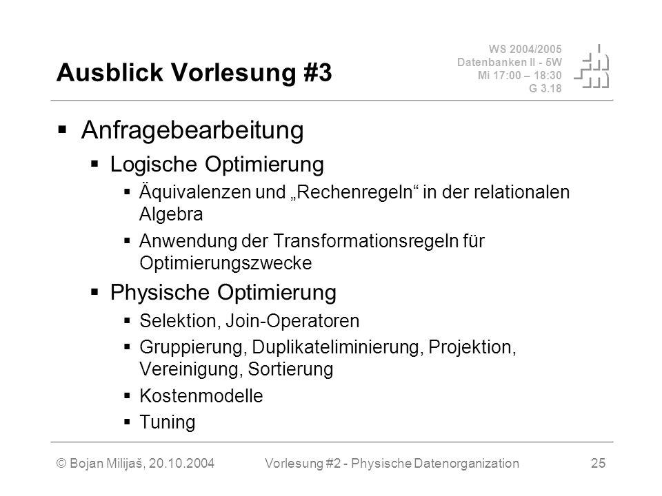 Vorlesung #2 - Physische Datenorganization