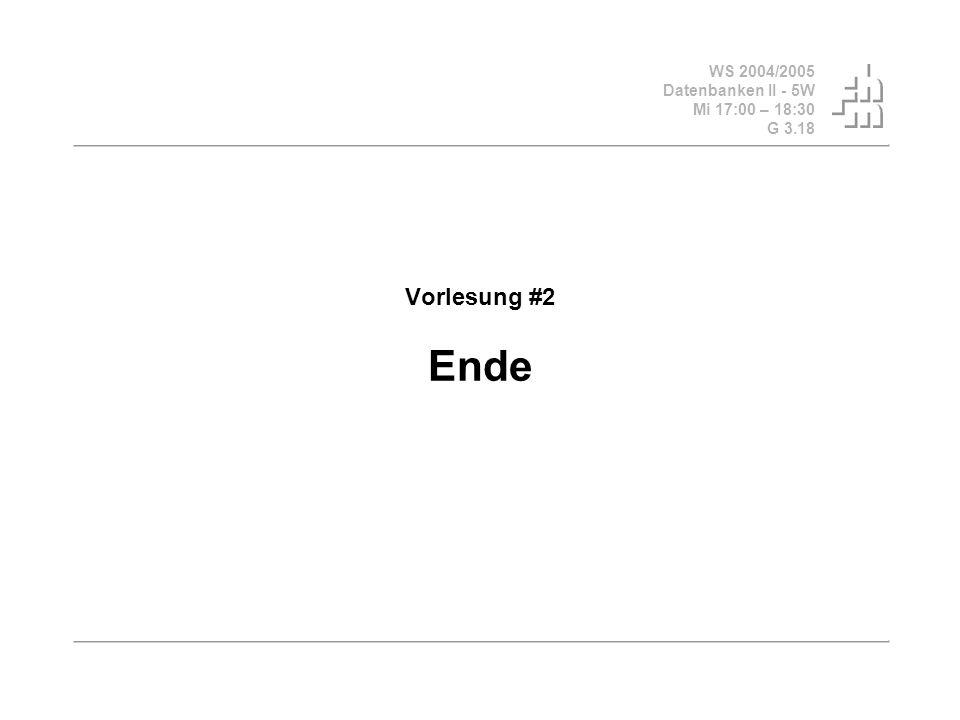 Vorlesung #2 Ende