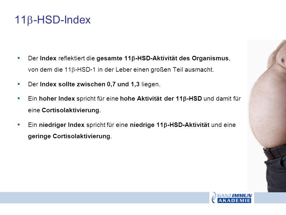 11-HSD-Index Der Index reflektiert die gesamte 11-HSD-Aktivität des Organismus, von dem die 11-HSD-1 in der Leber einen großen Teil ausmacht.
