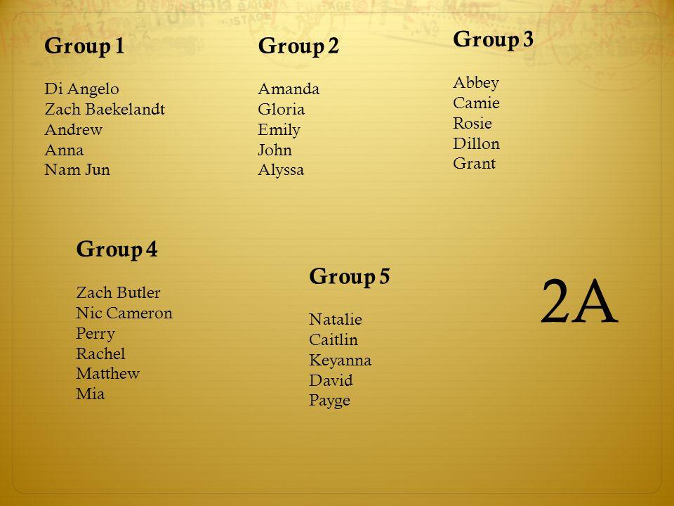 2A Group 3 Group 1 Group 2 Group 4 Group 5 Abbey Camie Rosie Dillon