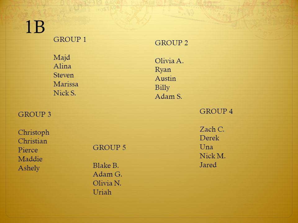 1B GROUP 1 GROUP 2 Majd Olivia A. Alina Ryan Steven Austin Marissa