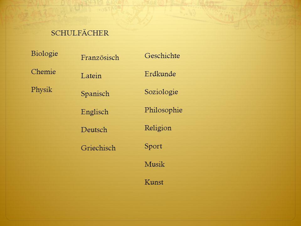 SCHULFÄCHER Biologie. Chemie. Physik. Geschichte. Erdkunde. Soziologie. Philosophie. Religion.