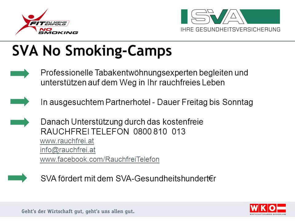 SVA No Smoking-Camps Professionelle Tabakentwöhnungsexperten begleiten und unterstützen auf dem Weg in Ihr rauchfreies Leben.