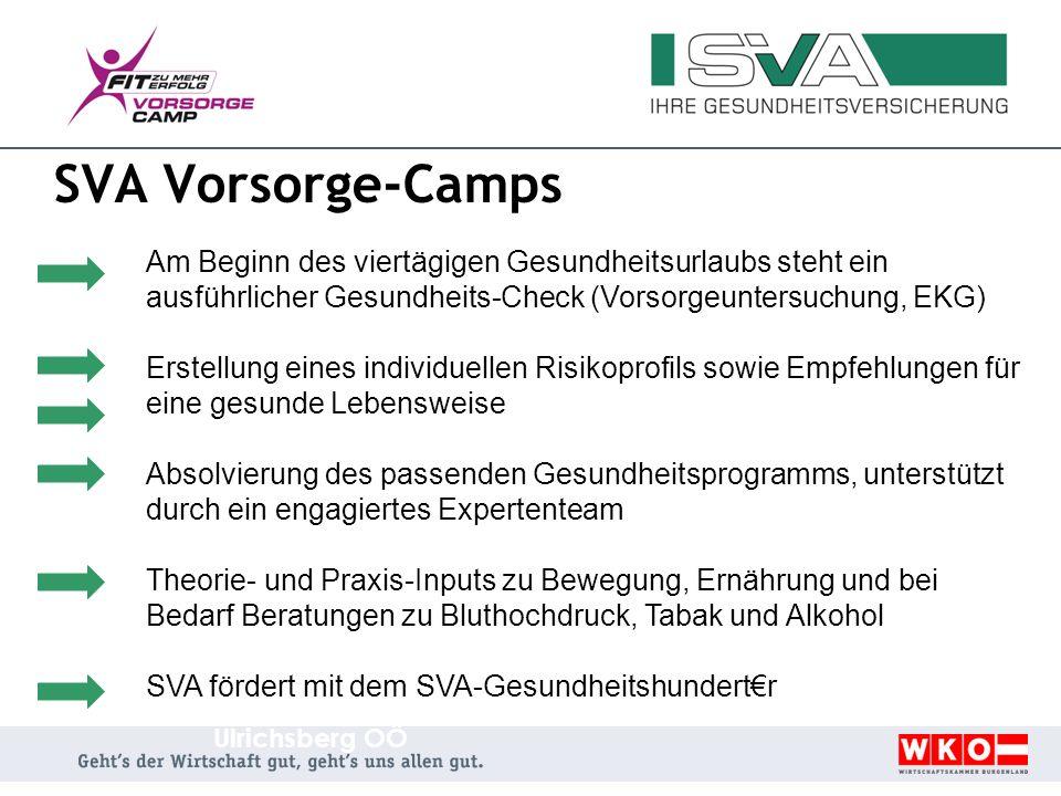 SVA Vorsorge-Camps Am Beginn des viertägigen Gesundheitsurlaubs steht ein ausführlicher Gesundheits-Check (Vorsorgeuntersuchung, EKG)