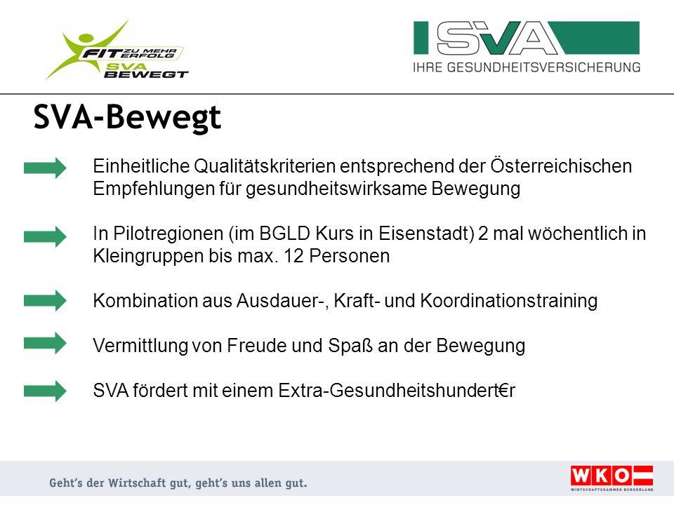 SVA-Bewegt Einheitliche Qualitätskriterien entsprechend der Österreichischen Empfehlungen für gesundheitswirksame Bewegung.
