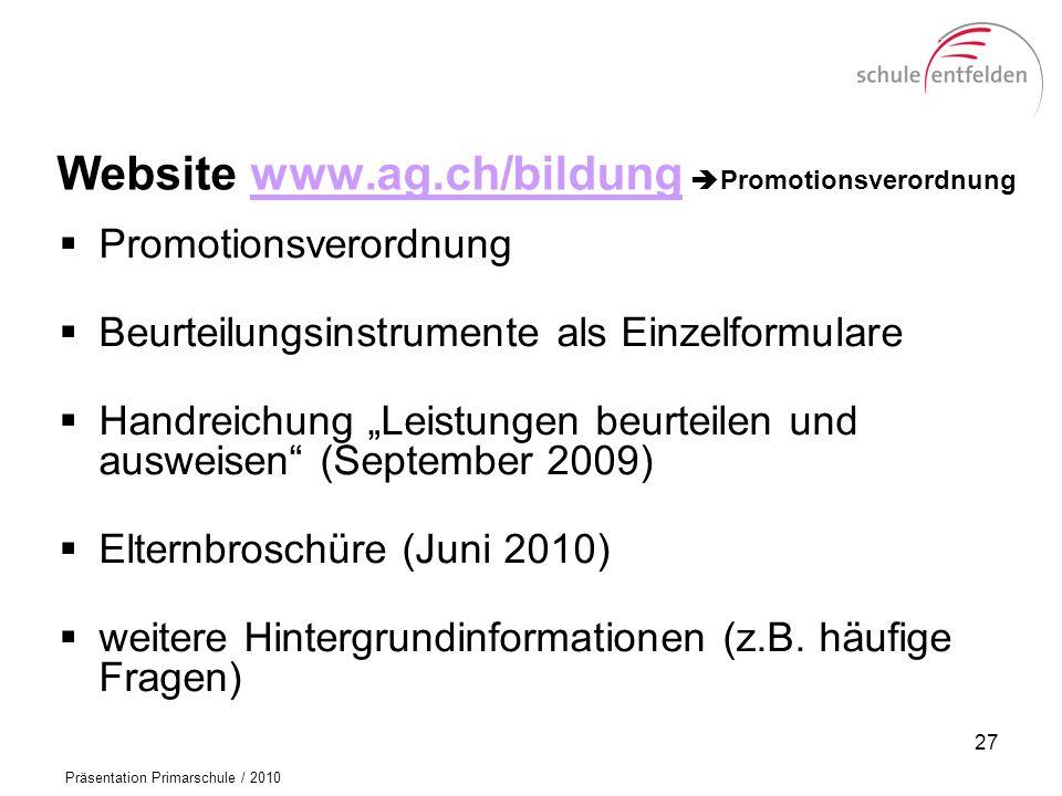 Website www.ag.ch/bildung Promotionsverordnung