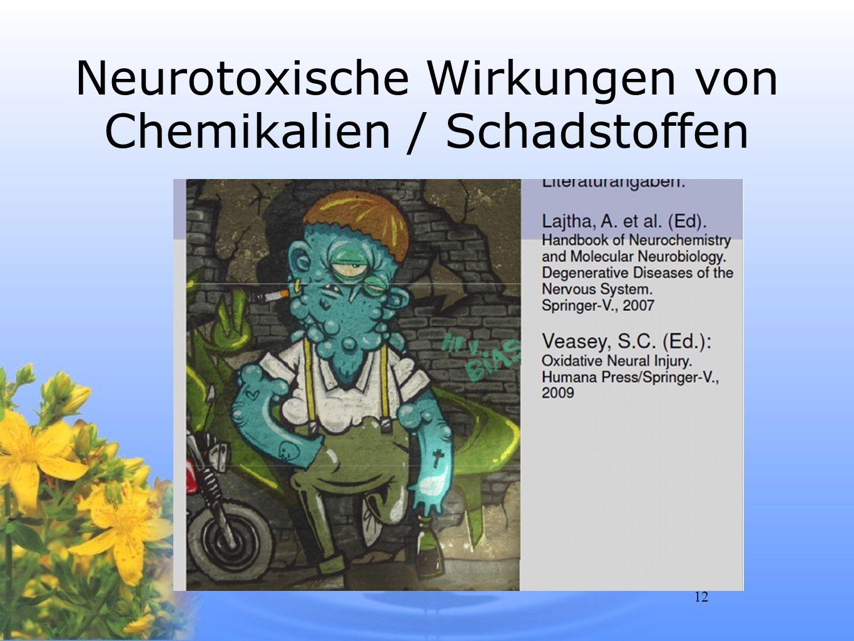 Neurotoxische Wirkungen von Chemikalien / Schadstoffen
