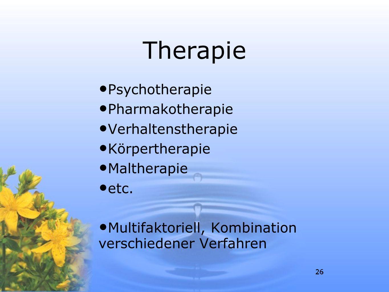 Therapie Psychotherapie Pharmakotherapie Verhaltenstherapie