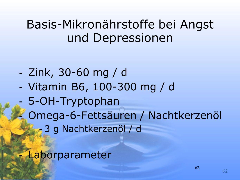 Basis-Mikronährstoffe bei Angst und Depressionen