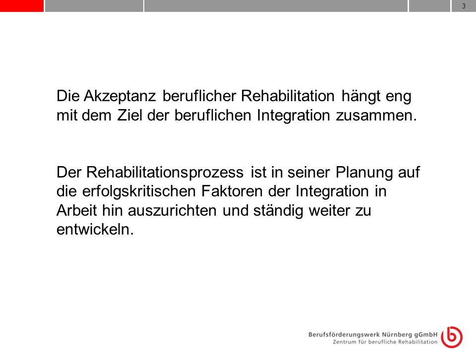 Die Akzeptanz beruflicher Rehabilitation hängt eng mit dem Ziel der beruflichen Integration zusammen.