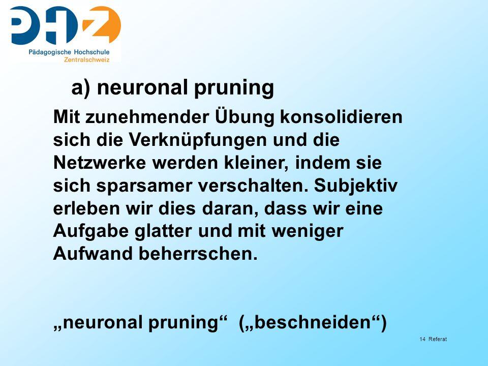 a) neuronal pruning