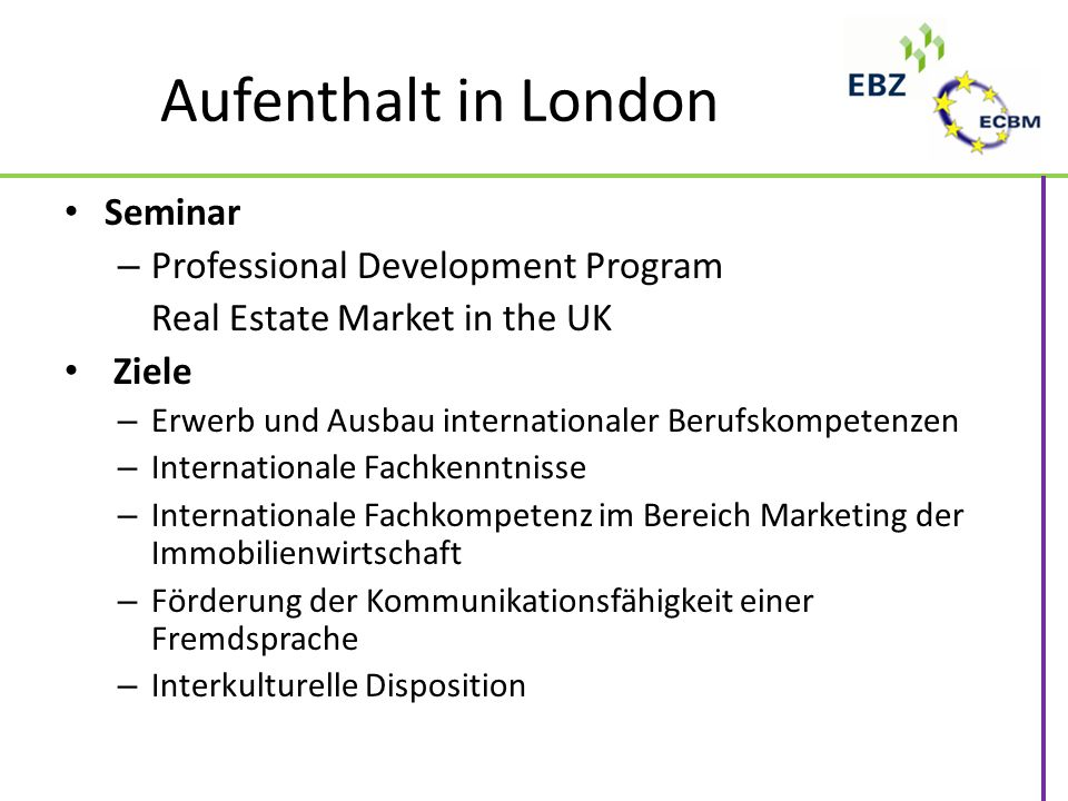 Aufenthalt in London Seminar Professional Development Program