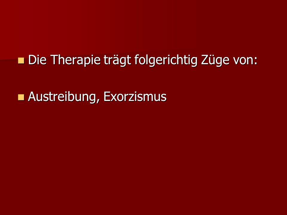 Die Therapie trägt folgerichtig Züge von: