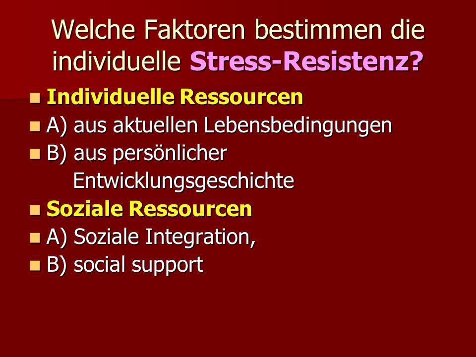 Welche Faktoren bestimmen die individuelle Stress-Resistenz