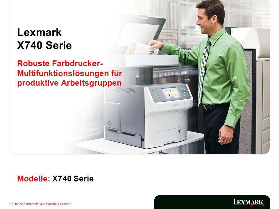 Lexmark X740 Serie Robuste Farbdrucker-Multifunktionslösungen für produktive Arbeitsgruppen.