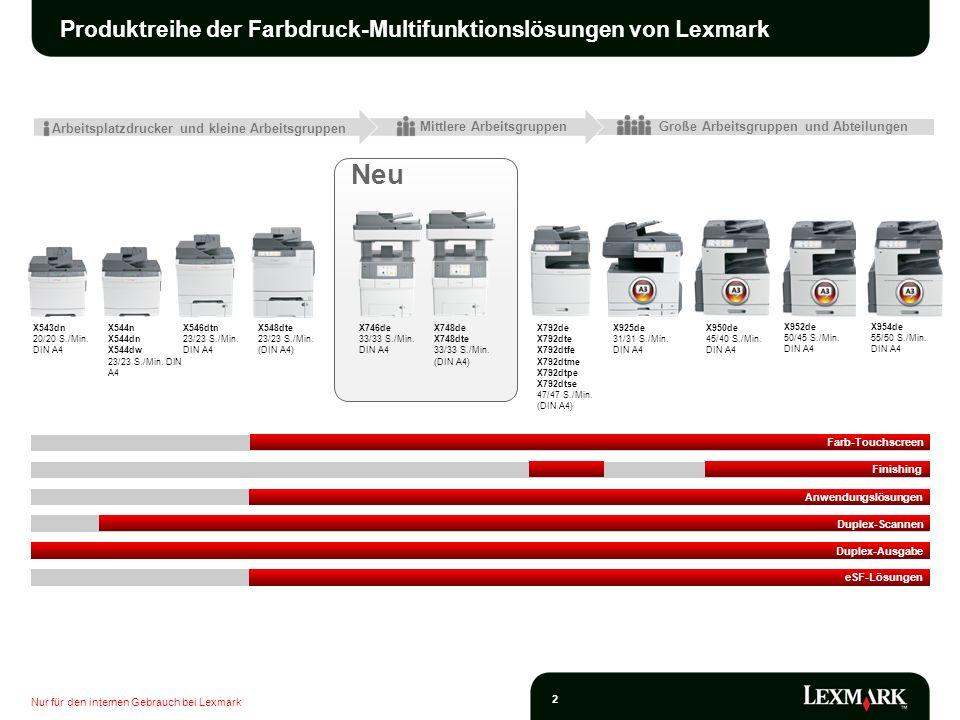 Produktreihe der Farbdruck-Multifunktionslösungen von Lexmark