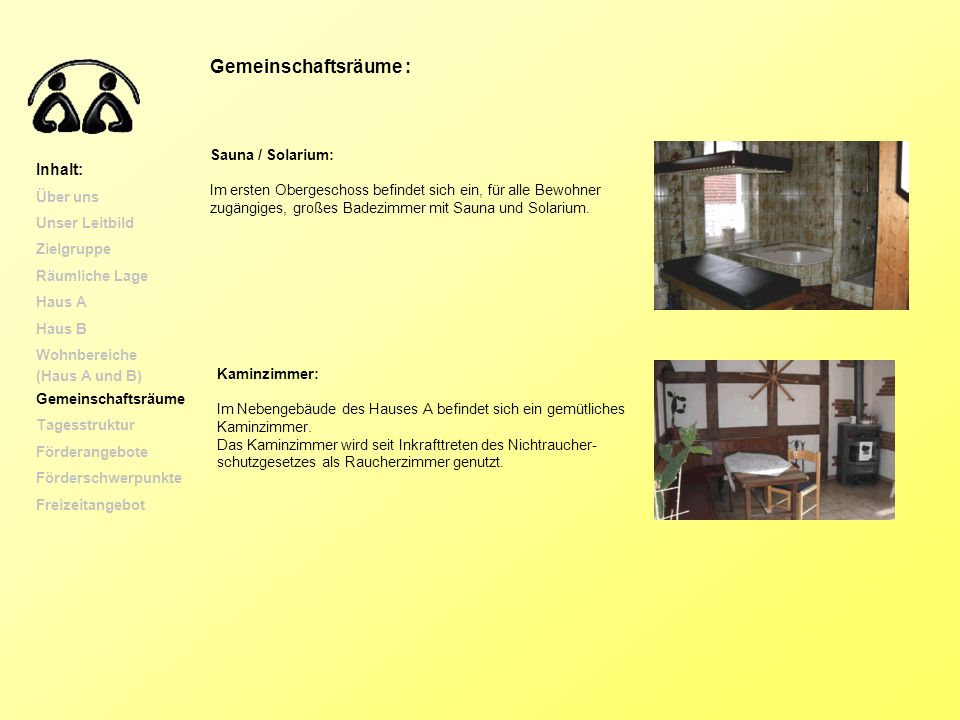 Gemeinschaftsräume : Inhalt: Sauna / Solarium: