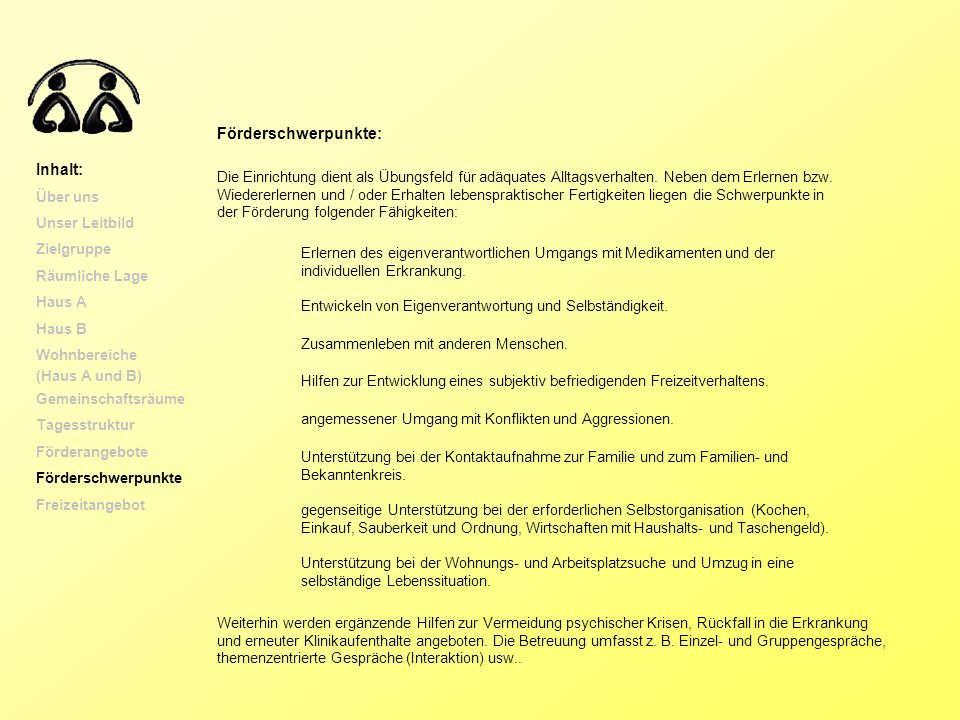 Förderschwerpunkte: Inhalt: Über uns