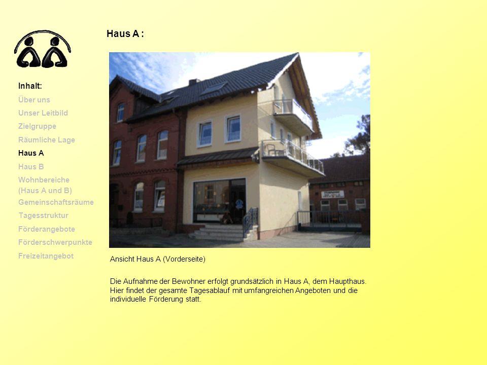 Haus A : Inhalt: Über uns Unser Leitbild Zielgruppe Räumliche Lage