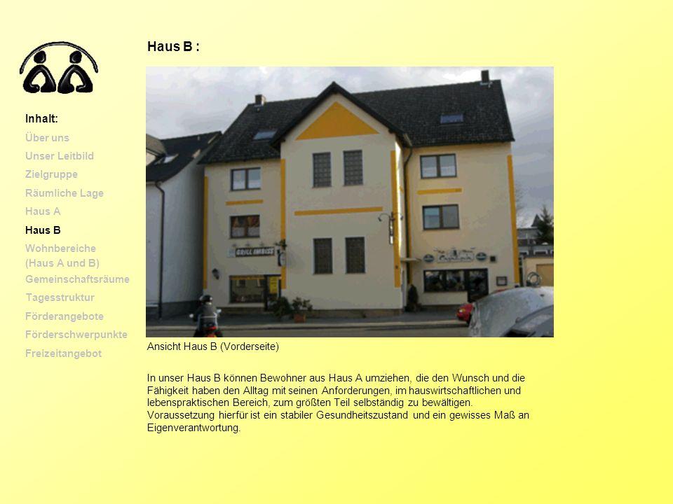 Haus B : Inhalt: Über uns Unser Leitbild Zielgruppe Räumliche Lage