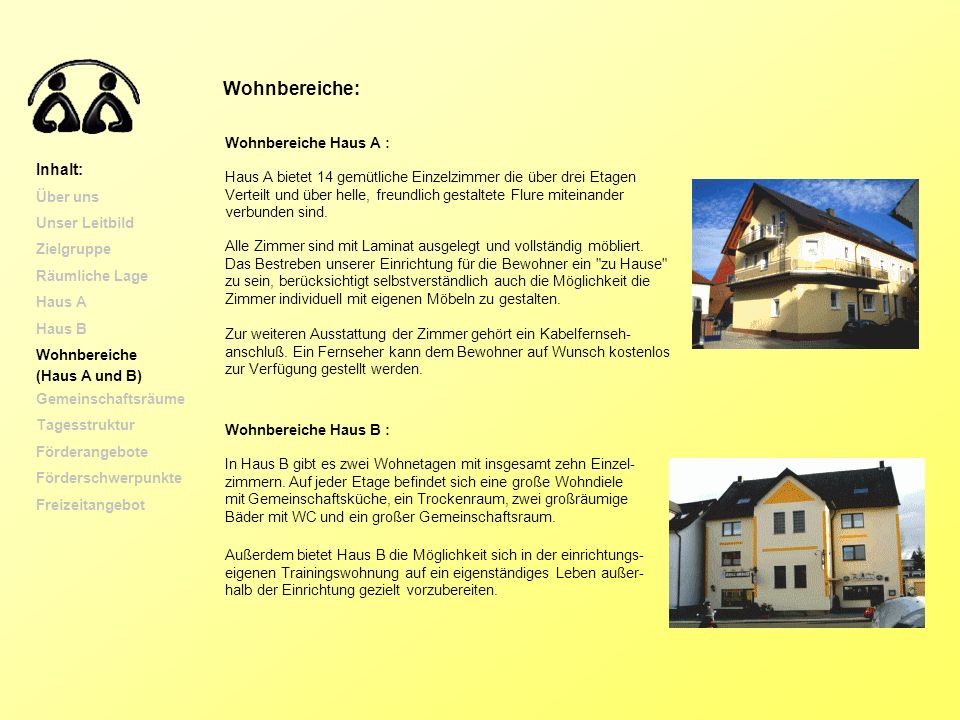 Wohnbereiche: Inhalt: Wohnbereiche Haus A : Über uns