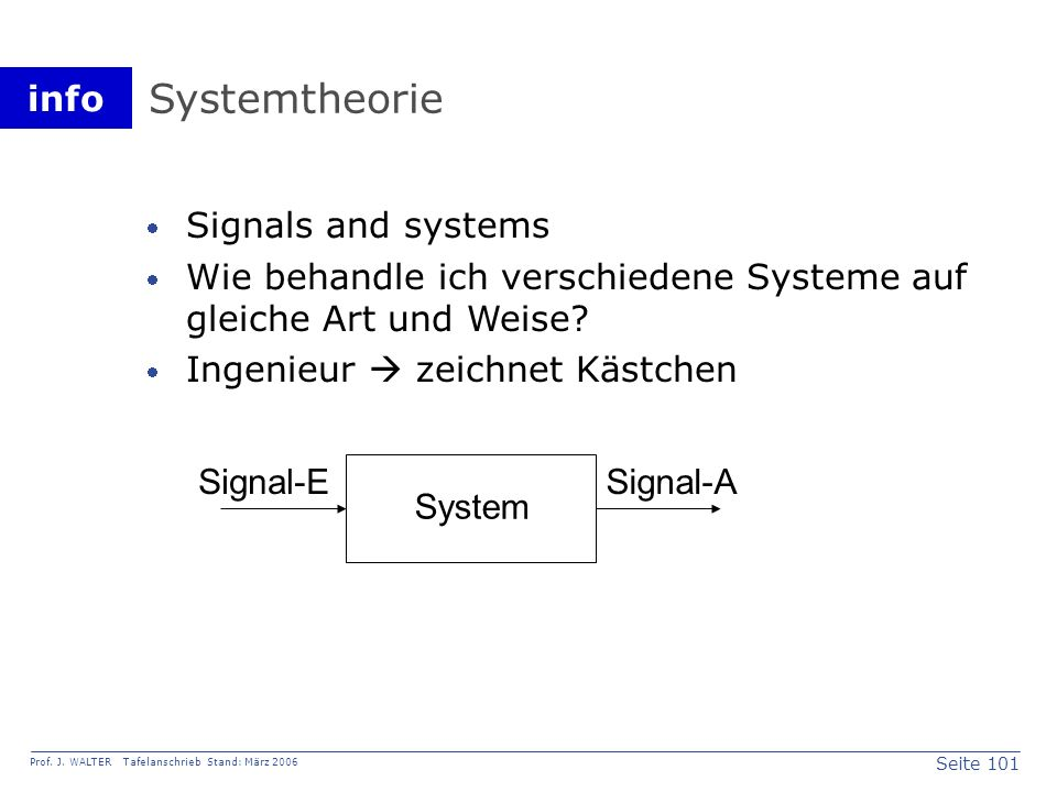 Systemtheorie Signals and systems