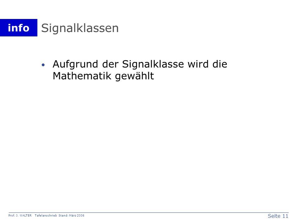 Signalklassen Aufgrund der Signalklasse wird die Mathematik gewählt
