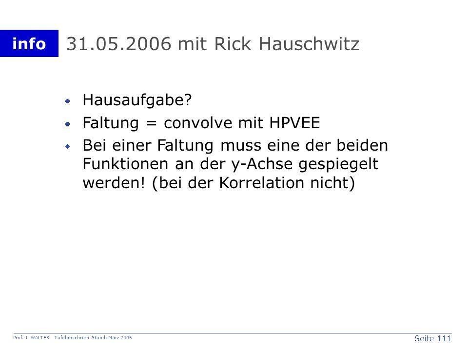 31.05.2006 mit Rick Hauschwitz Hausaufgabe