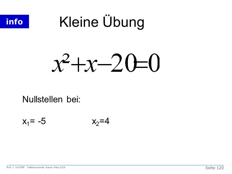 Kleine Übung Nullstellen bei: x1= -5 x2=4