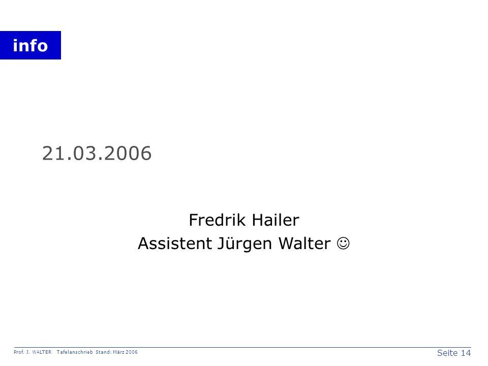 Fredrik Hailer Assistent Jürgen Walter 