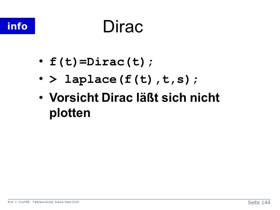 Dirac f(t)=Dirac(t); > laplace(f(t),t,s);
