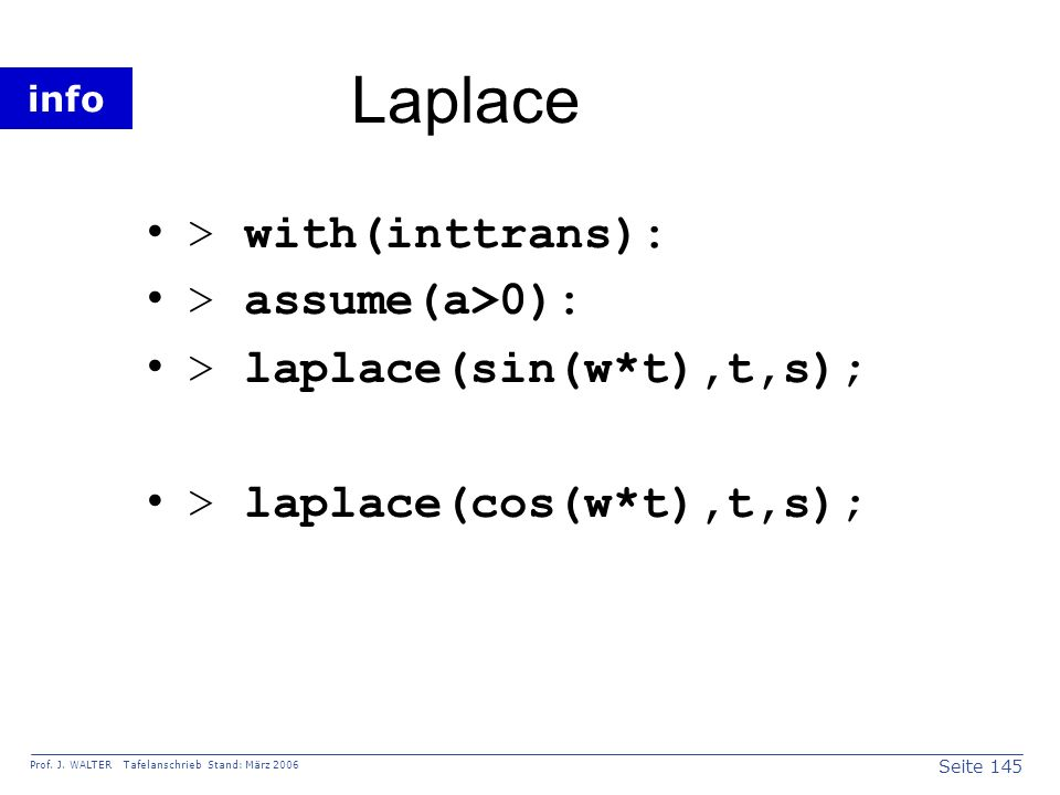 Laplace > with(inttrans): > assume(a>0):