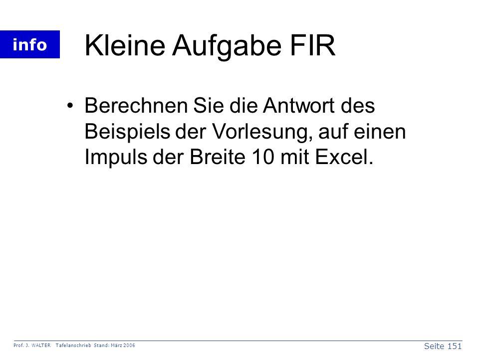 Kleine Aufgabe FIR Berechnen Sie die Antwort des Beispiels der Vorlesung, auf einen Impuls der Breite 10 mit Excel.