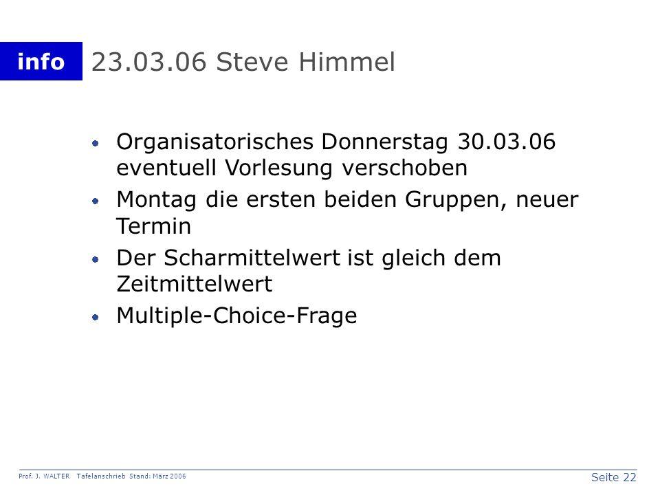 23.03.06 Steve Himmel Organisatorisches Donnerstag 30.03.06 eventuell Vorlesung verschoben. Montag die ersten beiden Gruppen, neuer Termin.