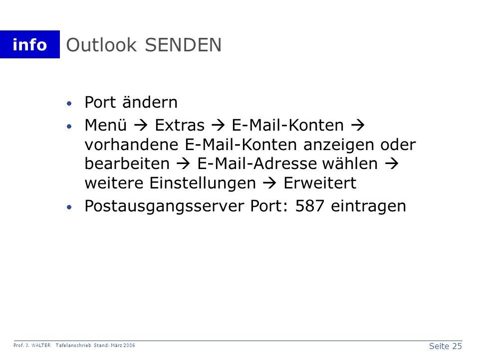 Outlook SENDEN Port ändern