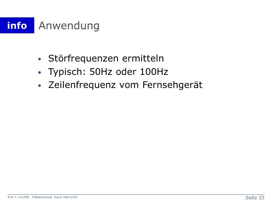 Anwendung Störfrequenzen ermitteln Typisch: 50Hz oder 100Hz