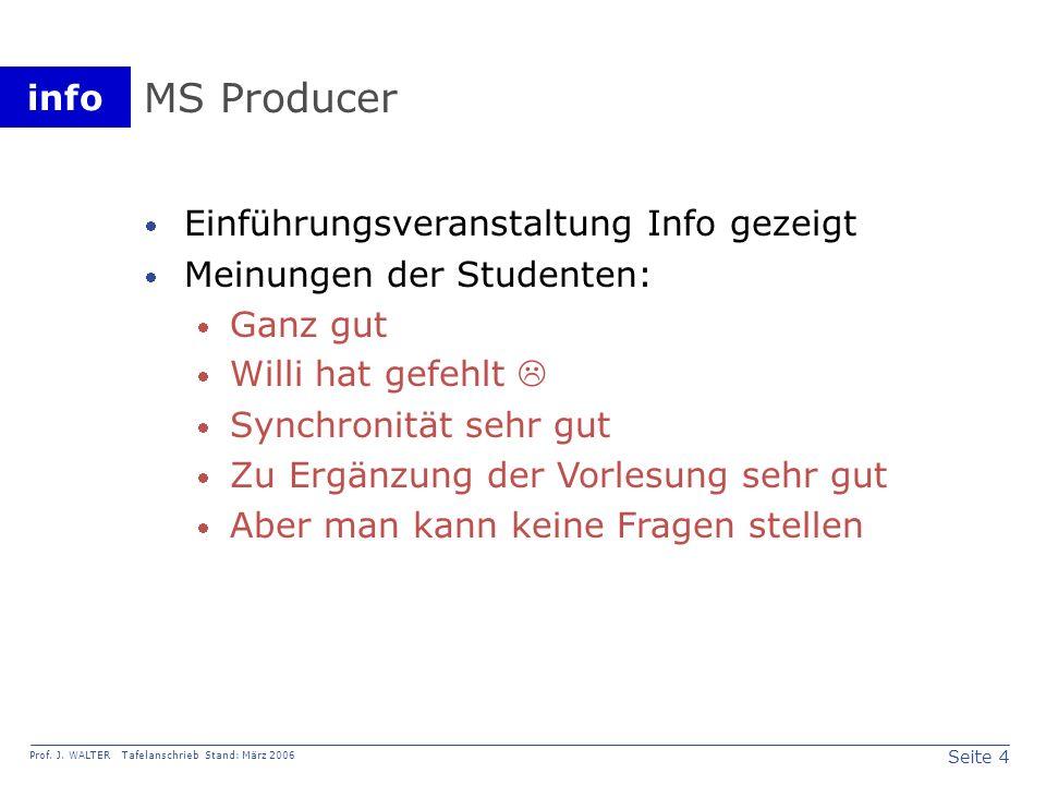 MS Producer Einführungsveranstaltung Info gezeigt