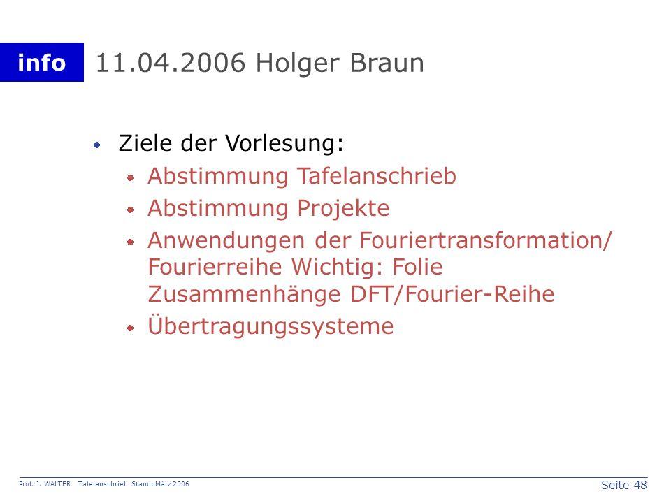 11.04.2006 Holger Braun Ziele der Vorlesung: Abstimmung Tafelanschrieb