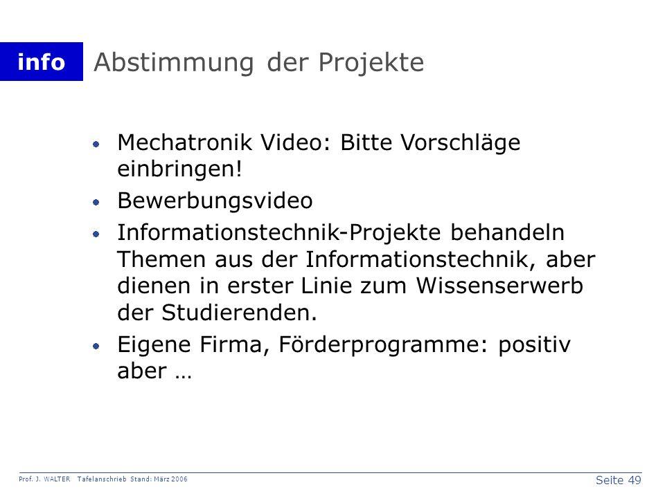 Abstimmung der Projekte