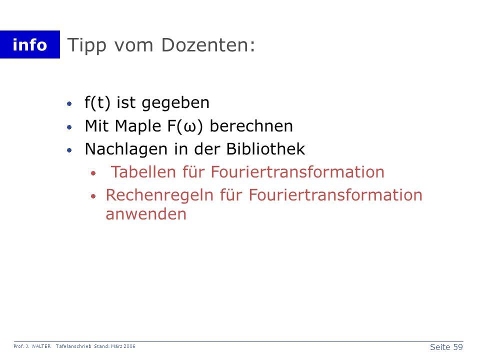 Tipp vom Dozenten: f(t) ist gegeben Mit Maple F(ω) berechnen