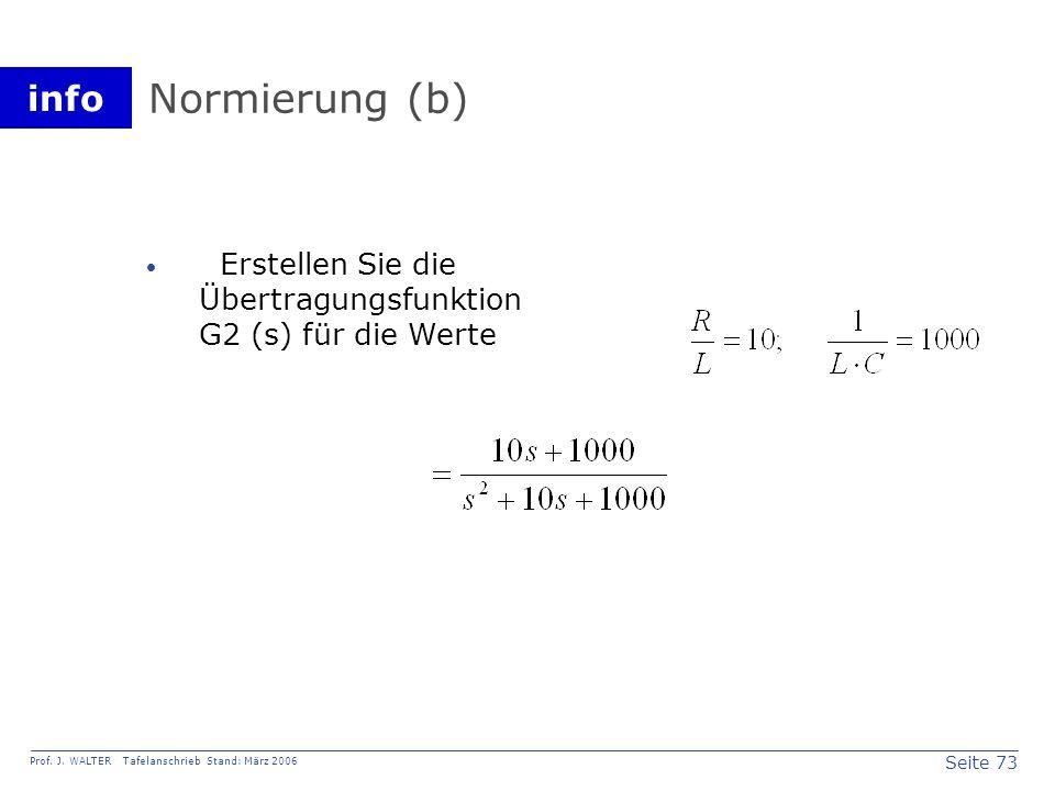 Normierung (b) Erstellen Sie die Übertragungsfunktion G2 (s) für die Werte