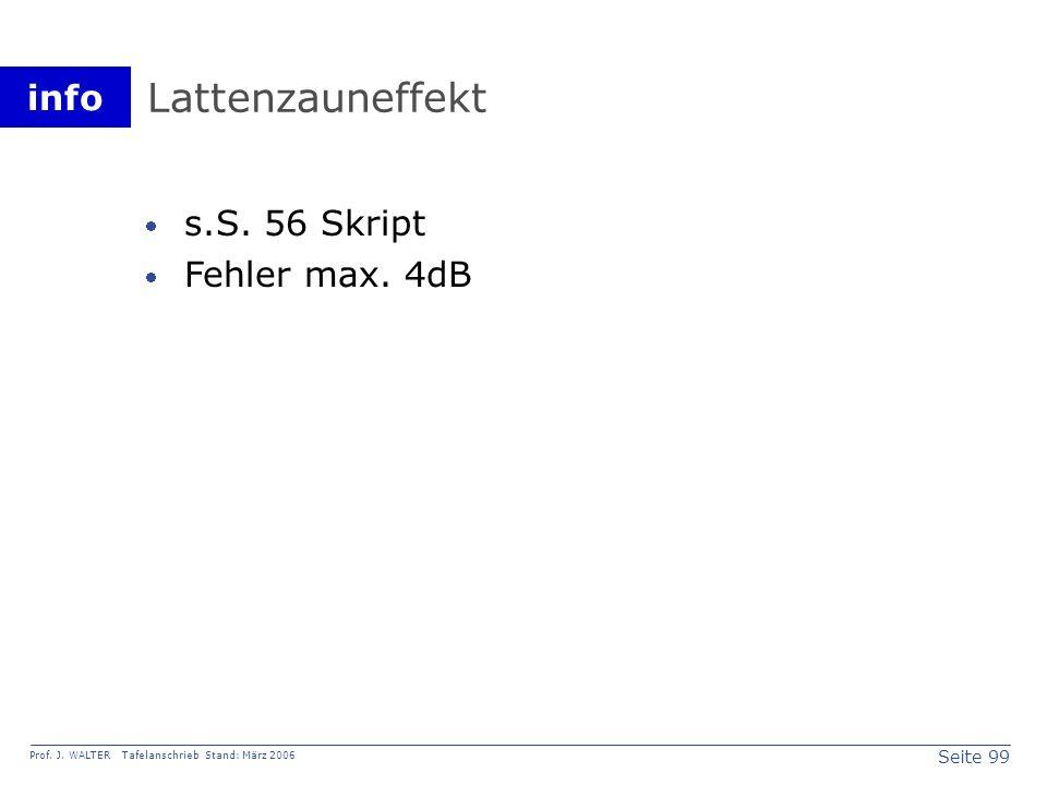 Lattenzauneffekt s.S. 56 Skript Fehler max. 4dB