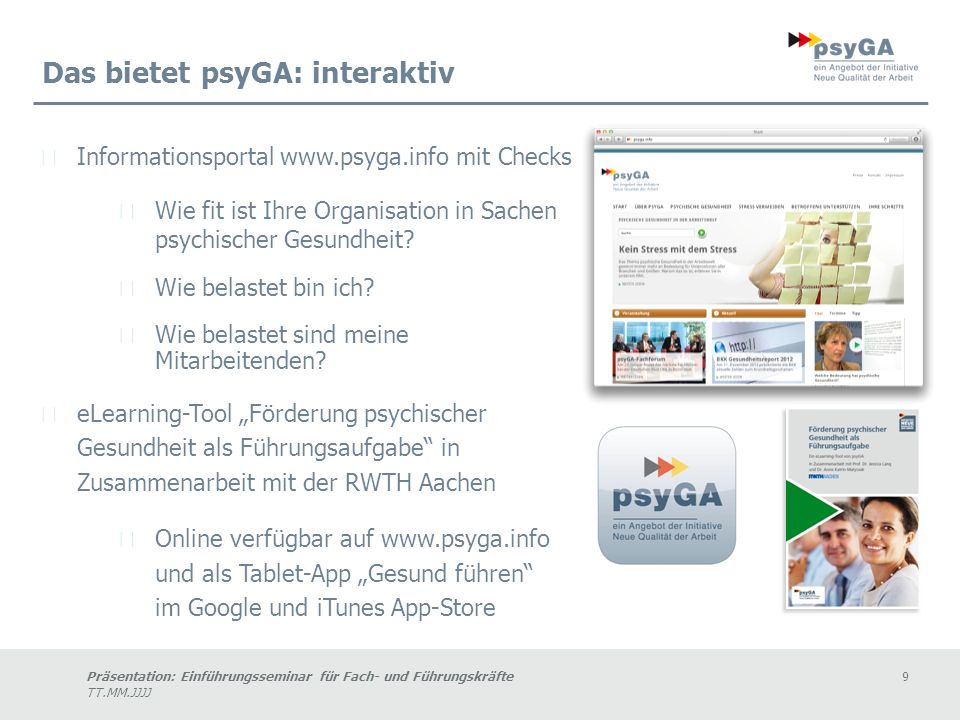 Das bietet psyGA: interaktiv