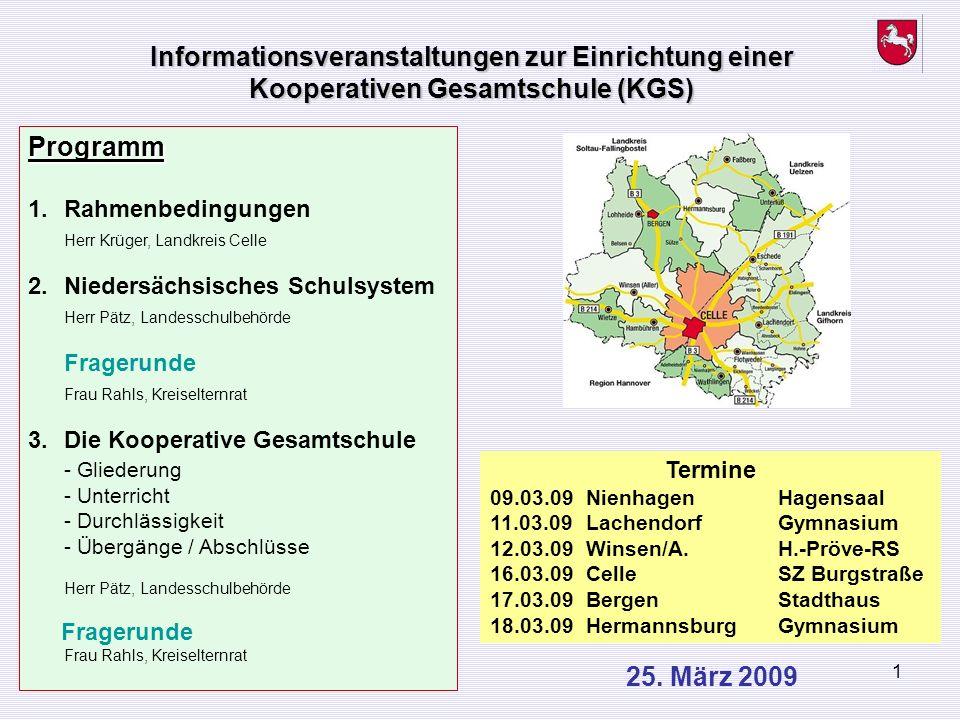 Informationsveranstaltungen zur Einrichtung einer Kooperativen Gesamtschule (KGS)