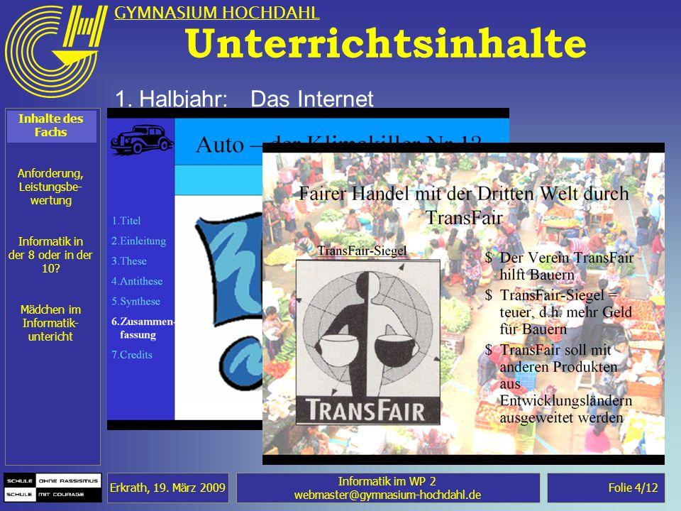 Unterrichtsinhalte 1. Halbjahr: Das Internet